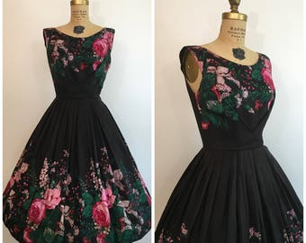 1950s Rose Border Print Dress 50s Taffeta Party Dress