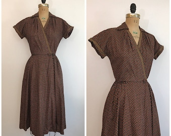 Vintage 1940s Ty Wrap Swirl Dress 40s Paisley Print