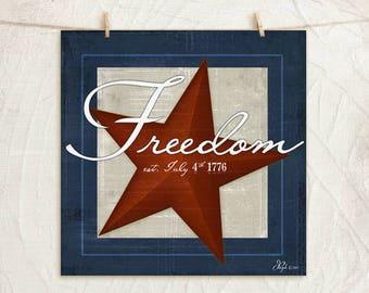 Freedom- 12x12 Art Print -Home, Wall Art Decor, Patriotic, Flag -Red, White, Blue, Tan