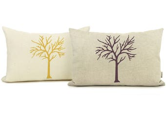 Personalized Woodland Inspired Tree Pillow Case, Cushion Cover | Your Color, Fabric and Size Choice 12x18 or 16x16 | Rustic Chic Home Decor