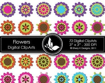 "40% off Flowers Clip Art - 72 Digital clip art - 3"" x 3"" - 300 DPI"