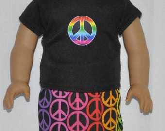 Rainbow Peace Sign Skirt Set Doll Clothes Made To Fit 18 Inch American Girl Dolls