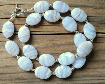 Blue Lace Agate Necklace in Sterling Silver