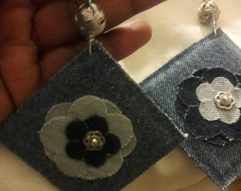 All  About the Denim Fabric earrings