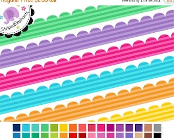40% OFF SALE Scalloped Digital Ribbons Striped 1 - Ribbon Clip Art - Instant Download - Commercial Use
