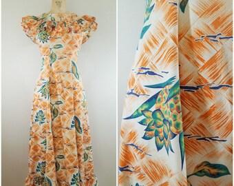 Vintage 1930s Cotton Maxi Dress / Tropical Leaf Print / Palm Leaves / XS