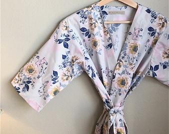 READY to SHIP LARGE Light Blue Kimono Robe. Kimono. Light Blue Bridesmaid Robe. Blue Wild Posies. Light Blue Floral Bridesmaids Robes.