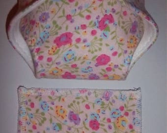 Baby Doll Diaper/wipe - sweet meadow flowers, pink, powder blue, lilac, golden, green leaves  - adjustable for many dolls such as bitty baby