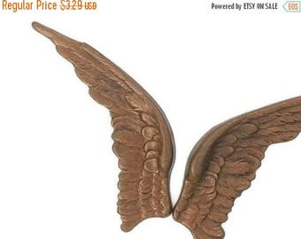SALE 30% OFF Bronze Shimmer Brown Brass Stamping Real Life like Bird Wings Pair Heirloom Quality for Jewelry Making Made in the USA Dr Brass