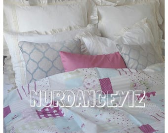 shabby chic custom bedding-girls room-Pink blue mint green roses floral dot stripe patchwork print-Twin Queen oversized super King bedding