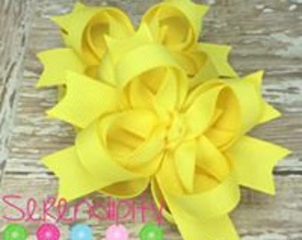 Pastel Yellow Boutique Hair Bows, Canary Hair Bows, Boutique Hair Bows, Mini Hair Bows, Girl's Hair Bows, Piggy Tail Bows, Bows For Girls