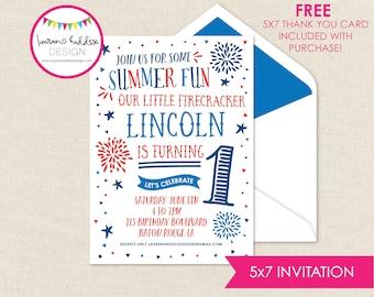 Patriotic Birthday, July 4th Party Birthday Invitation, Fireworks Invitations, Patriotic Birthday Decorations, Lauren Haddox Designs