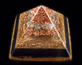 Orgonite® Pyramid with Aventurine, Tibetan Crystal, Fluorite, Phenacite, Petalite, Elite Shungite, Tourmaline, Rhodizite Crystal, Selenite