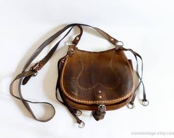 Vintage Brown Leather Saddle Bag / Shoulder Bag / Cross-body Messenger Bag 60s