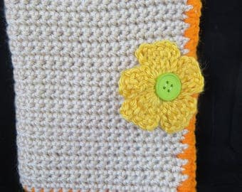 Crochet Tan and Orange Crochet Hook Case