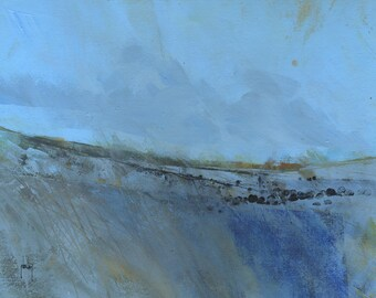 Original abstract landscape painting - Cold moor