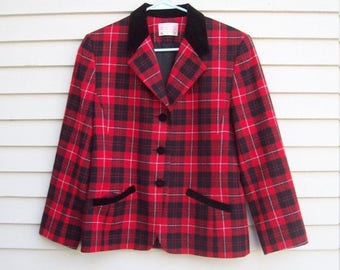 Birthday Sale Pendleton Wool Red Plaid and Black Velvet Trimmed Equestrian Blazer