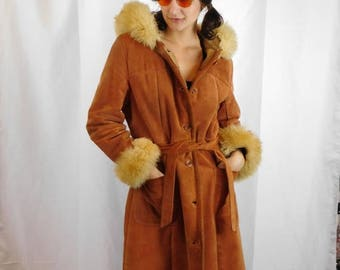 Birthday Sale 70's Hooded Leather And Lambs Wool Coat / Suede And Sherpa Princess Coat