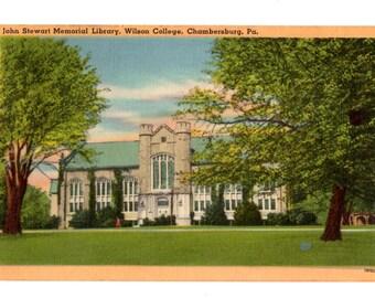 WILSON COLLEGE, John Stewart Memorial Library, Wilson College, Chambersburg Pennsylvania Vintage Postcard