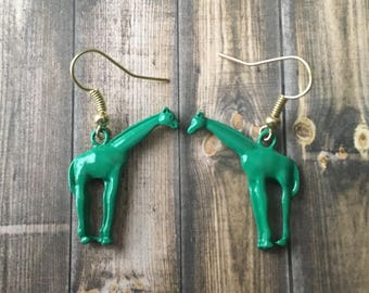 Green giraffe earrings