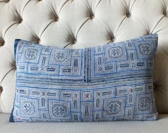 Vintage Indigo batik Hmong cushion cover, Cotton Fabric,Scatter cushions-Cushions and pillows