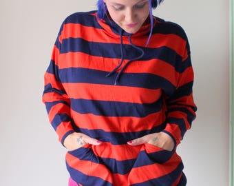 1980s SAVED BY the BELL Geometric Hipster Top. orange. blue. retro. unisex. striped. urban. 1980s. rad. fun. unisex. uva colors. zack morris