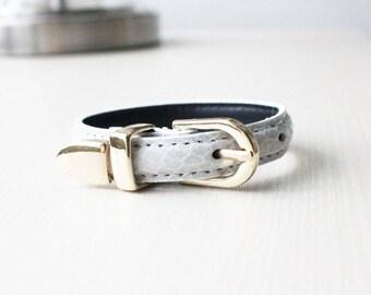 Lizard Pattern Buckle Belt Leather Bracelet(Cream)
