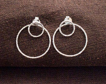 1 pair of 925 Sterling Silver Double Circle Ear Jacket Earrings 20 mm.  :er1133