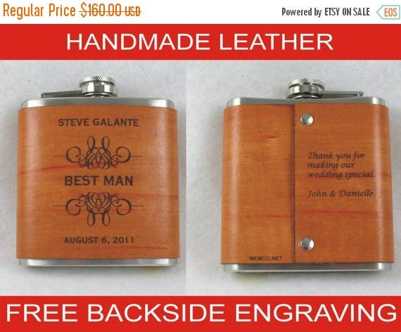 ON SALE Set of 8 Groomsmen Flasks with Hand Dyed Engraved Leather Wrap - FREE Backside Engraving!