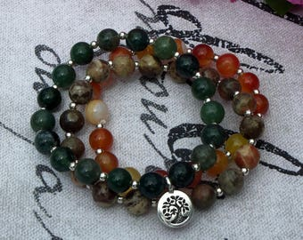 Protection, Strength, Harmony - Ocean Agate, Moss Agate, and Burnt Orange Agate Gemstone Tree Stretch Bracelet Trio