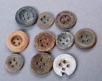 Set of 10 Antique original different buttons (n011)