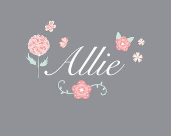 Floral Name Wall Decal-Nursery Wall Decals-Wall Stickers-Flowers, Butterflies, Floral-Wall Decor-Mint, Peach-Reusable Wall Decals