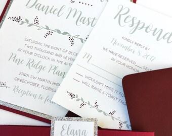 SAMPLE - Merlot and Silver Wedding Invitations