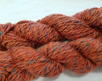 Alpaca and Silk yarn - hand spun and dyed
