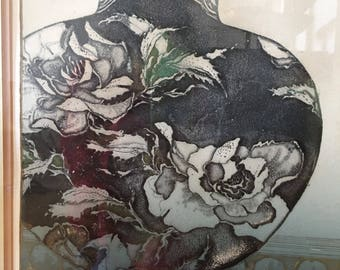 Karen Chambellain Peony Urn Original Intaglio Print Limited Signed and Numbered