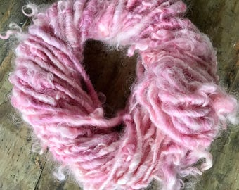 Hand Spun Curly Cotswold Ballerina Pink