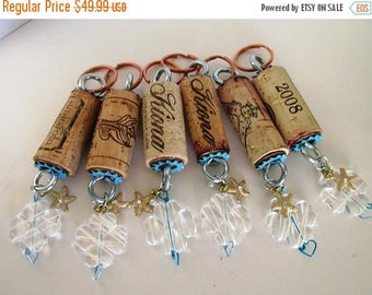 SALE Wine Cork Keychains group of six Beach themed charms just for you and your friends with cute gold starfish metal charms gift for groups