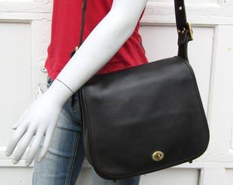 Vintage Coach Bag • Coach Leather Stewardess Bag in Black Leather • Coach Leather Saddle Bag • NYC
