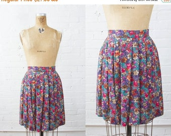 SALE // Vintage Floral High Waisted Mini Skirt - Upcycled