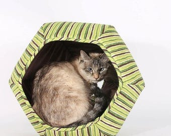 Summer Sale Cat Bed in Green Stripes cotton fabric  - The Cat Ball modern cat bed with two openings