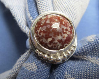 Speckled Burgundy Bloodstone in Granulated Argentium Ring Size 9