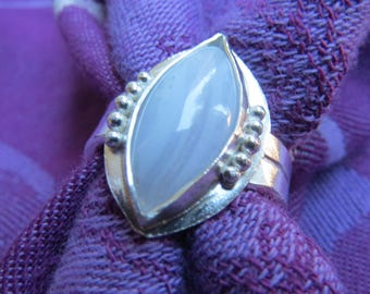Blue Lace Agate Navette in Granulated Sterling Ring Size 8 & a Half