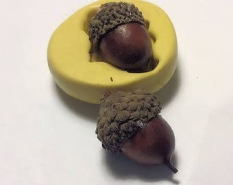 Acorn  Flexible silicone mold- fondant, wax, clay, resin, sweets, Chocolate and more