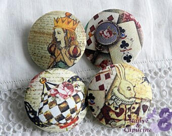 4 Alice fabric buttons in Wonderland, 1.25 in / 32 mm in diameter