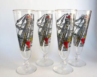 Vintage Pilsner Glasses Libbey Treasure Island Pirate Glassware Set of 4