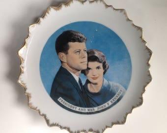 John F Kennedy Decorative Plate Vintage President and Mrs. John F Kennedy Plate
