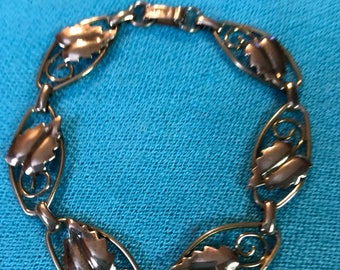 Vintage 12k Gold Filled Leaf Bracelet