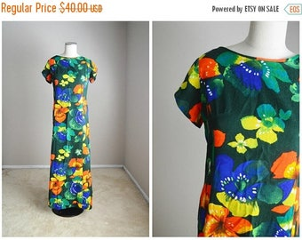 Summer SALE - 20% off - vintage 60s 70s green orange yellow floral maxi Hawaiian dress -- womens medium large