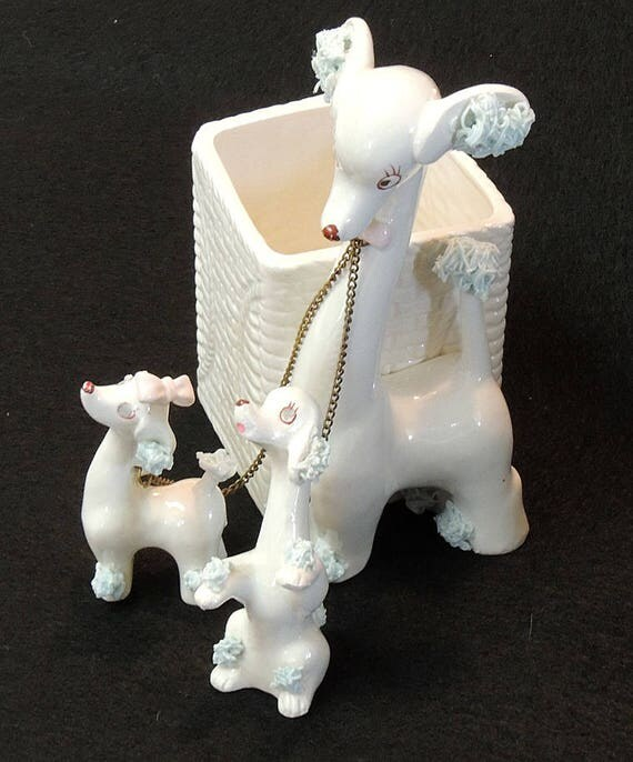 Rare Vintage Rubens Originals Planter.. 3 Spaghetti Poodle Dogs Dated 1959