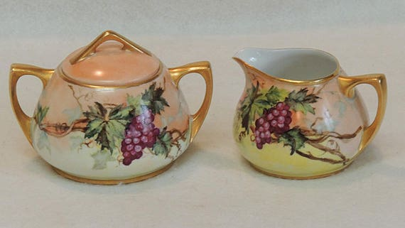Vintage O. & E.G. Royal Austria Hand Painted Porcelain Cream And Sugar.. Grapes  And Vines